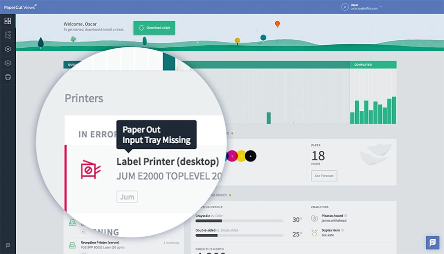 Minimize printing downtime with PaperCut Views.