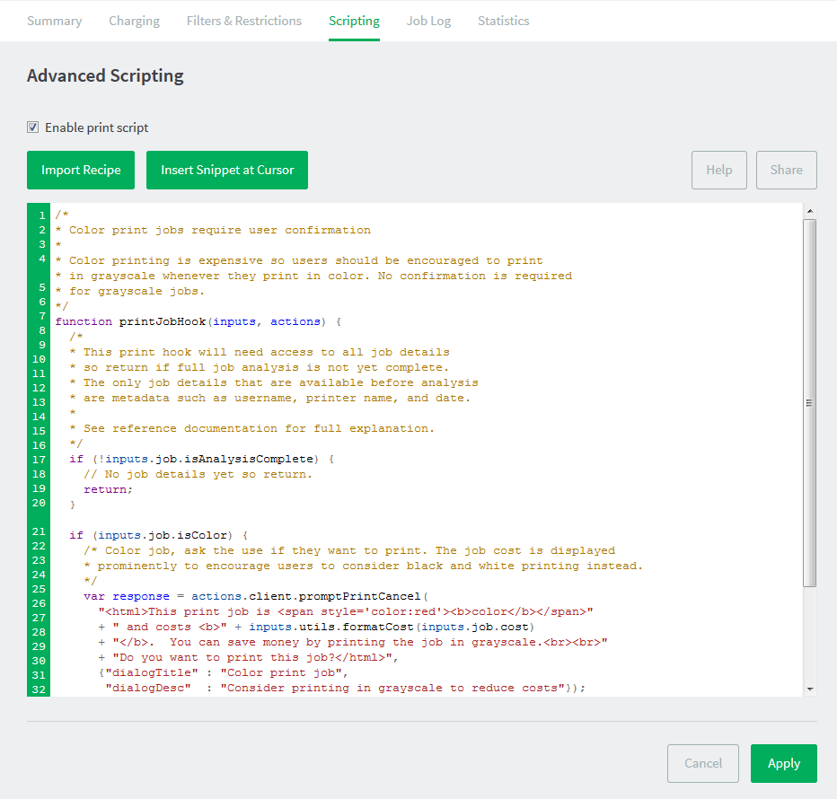 Advanced scripting javascript editor