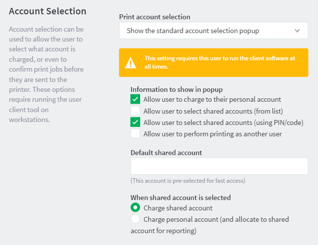 User account selection options