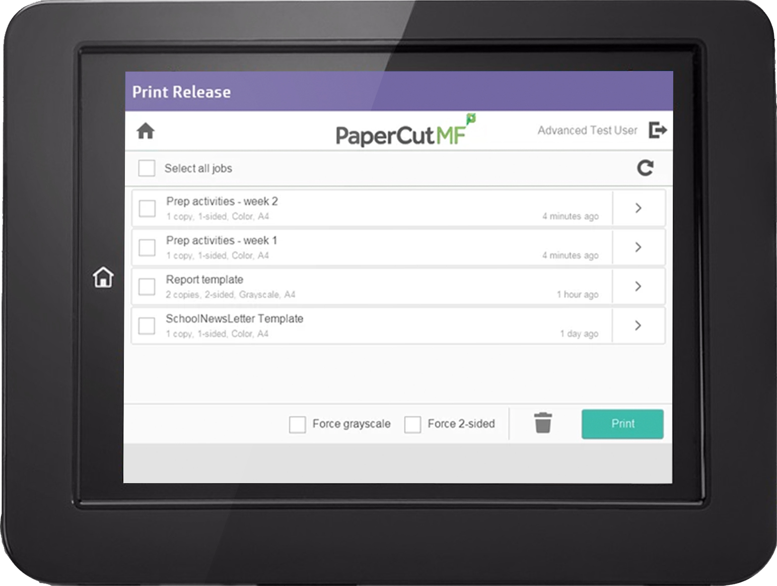 PaperCut MF print release interface