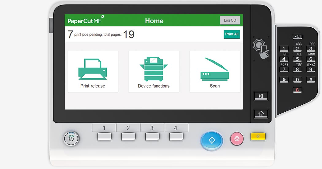 PaperCut MF Home Interface on Konica Minolta devices.