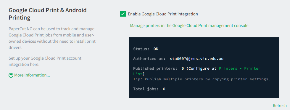PaperCut\'s Google Cloud Print setup interface