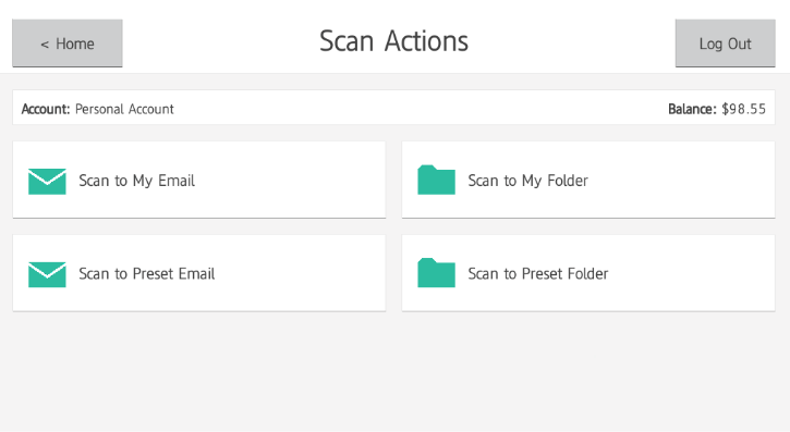 PaperCut MF's Integrated Scanning Actions Interface