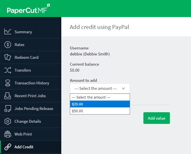 Add Credit User Interface