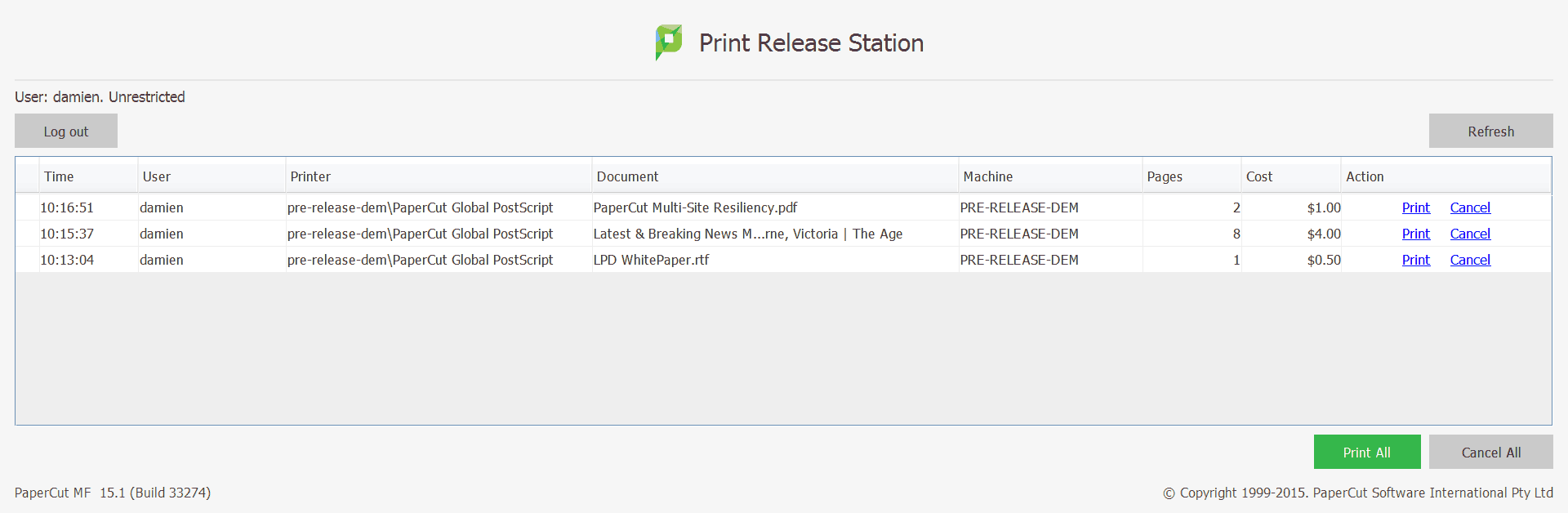 Standard print release station look