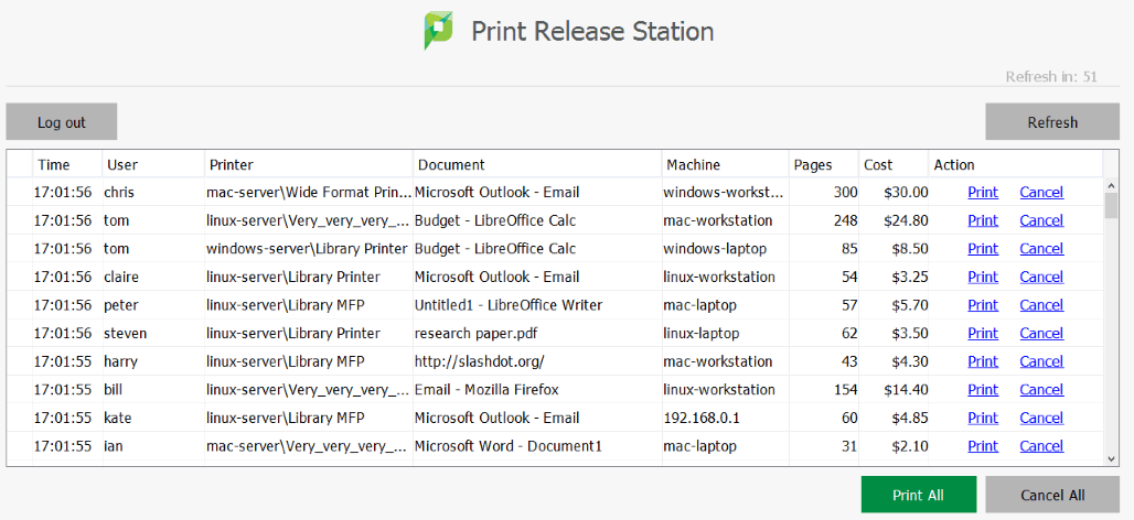 PaperCut Print Release Station