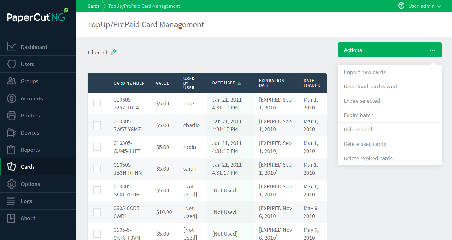 Managing cards from the administration interface