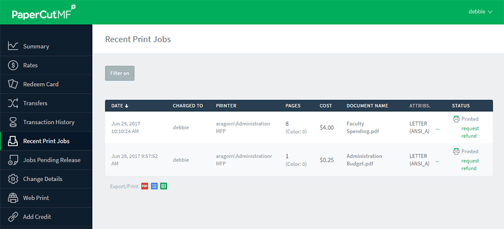 Recent Print Jobs page - a user\'s reference for their print history