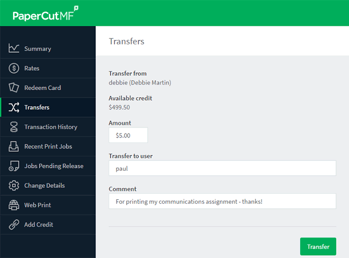 Transfers page - transfer balance to other users