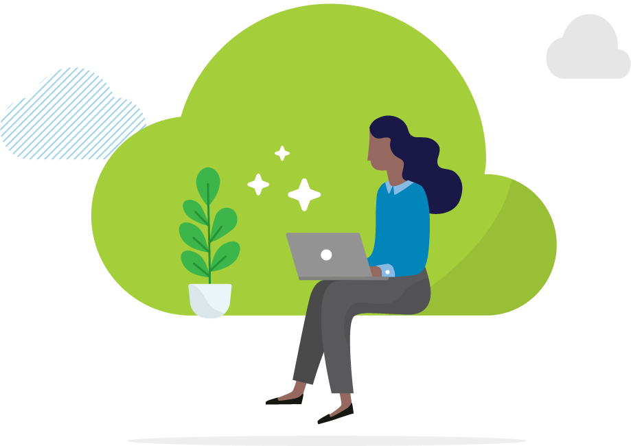 Working in the cloud illustration