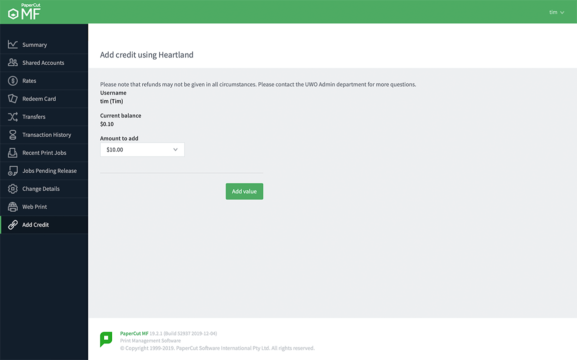PaperCut MF adding credit using Heartland