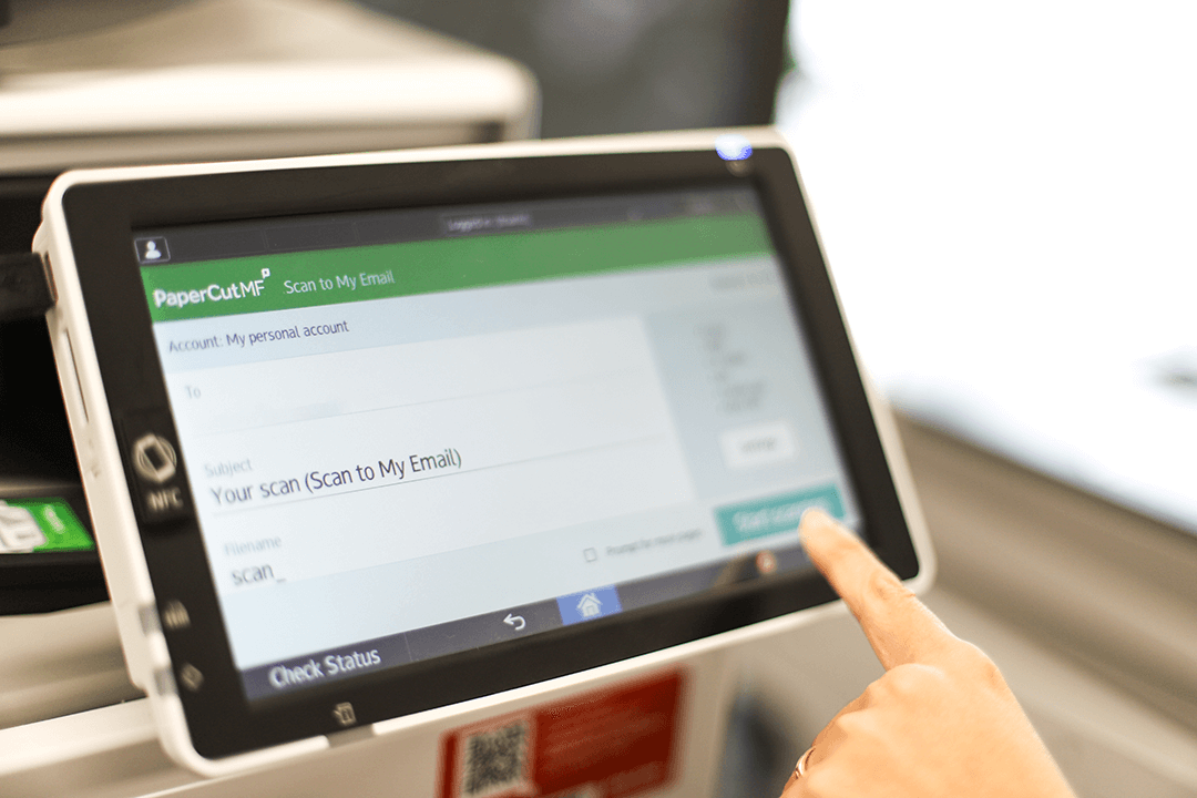 Securely deliver scans straight to your email using one-click tap and scan