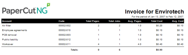 A screenshot of one of the 'invoice' reports available through one-click reporting in PaperCut NG and MF.