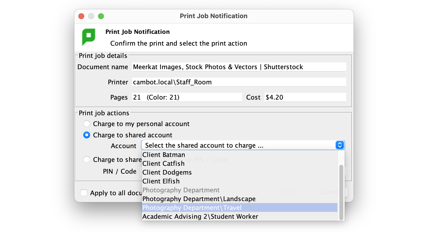 A screenshot of the PaperCut Standard User Client showing the drop down list of shared accounts available.