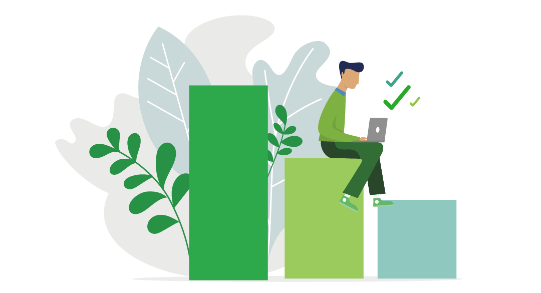 An illustration representing a user on their laptop with a tree beside them