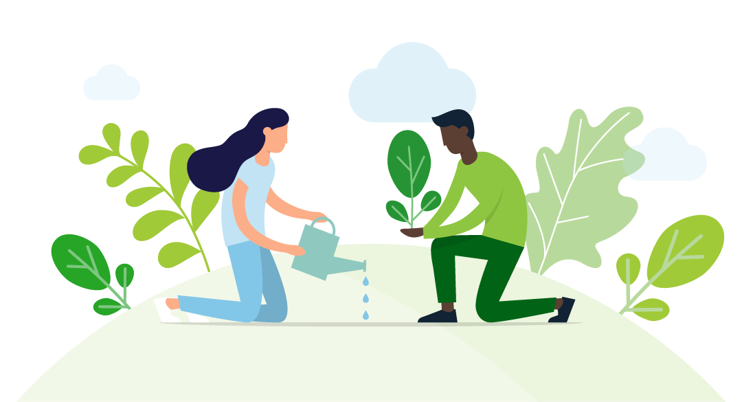 Illustration of two people planting a seedling