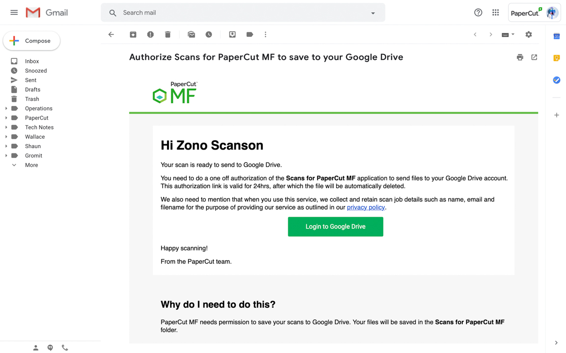 A PaperCut MF authentication email for a scanning job