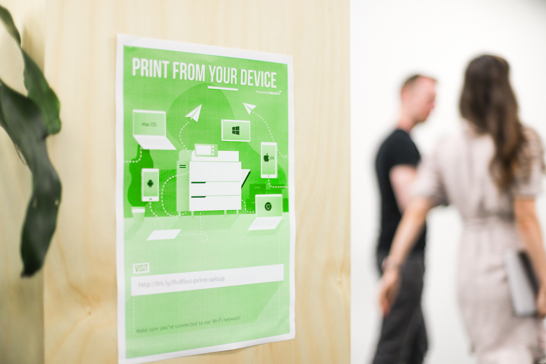 A PaperCut flyer that says 'PRINT FROM YOUR DEVICE'