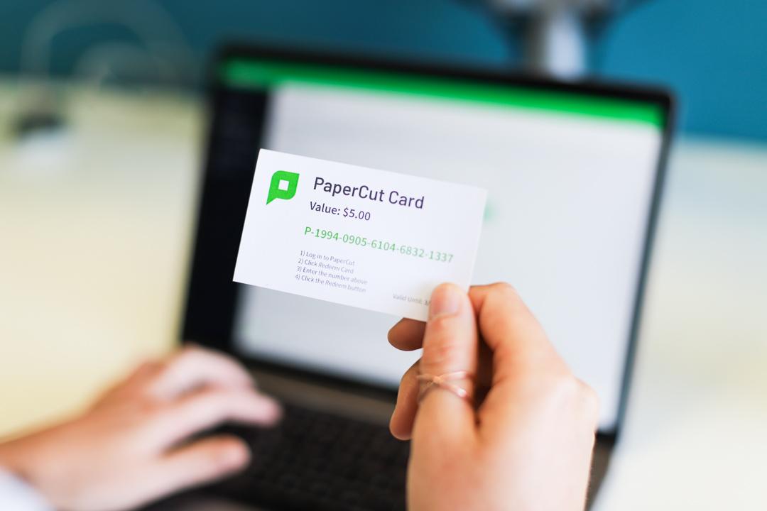A PaperCut top-up card