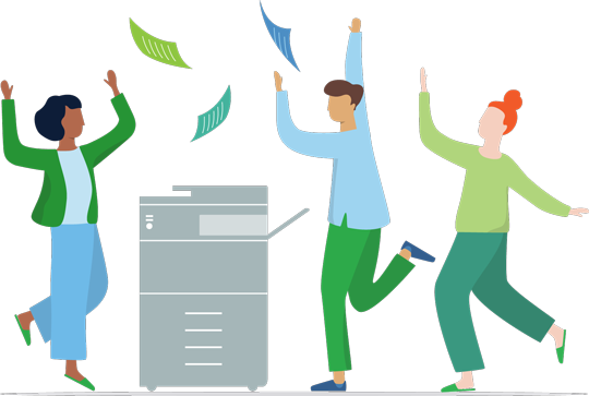 Happy users dancing around a printer