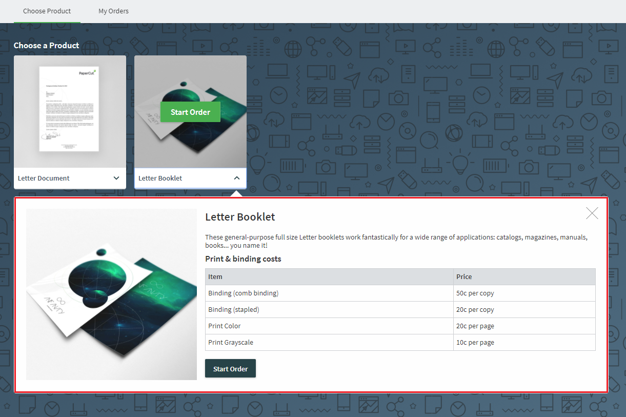 The Job Ticketing customer dashboard interface, showing the product description.