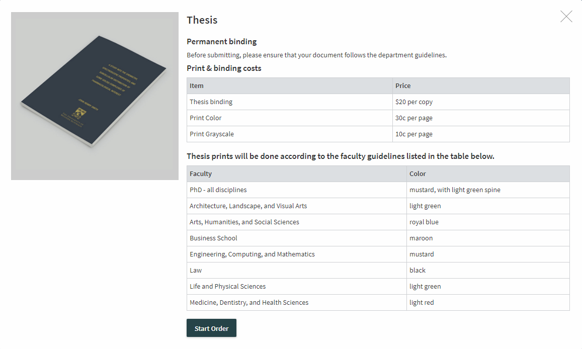 A screenshot showing the description of the Thesis product