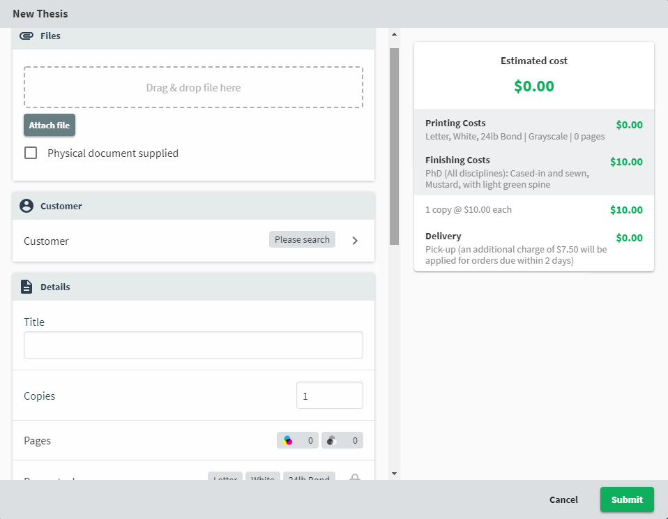 A screenshot of the product order form