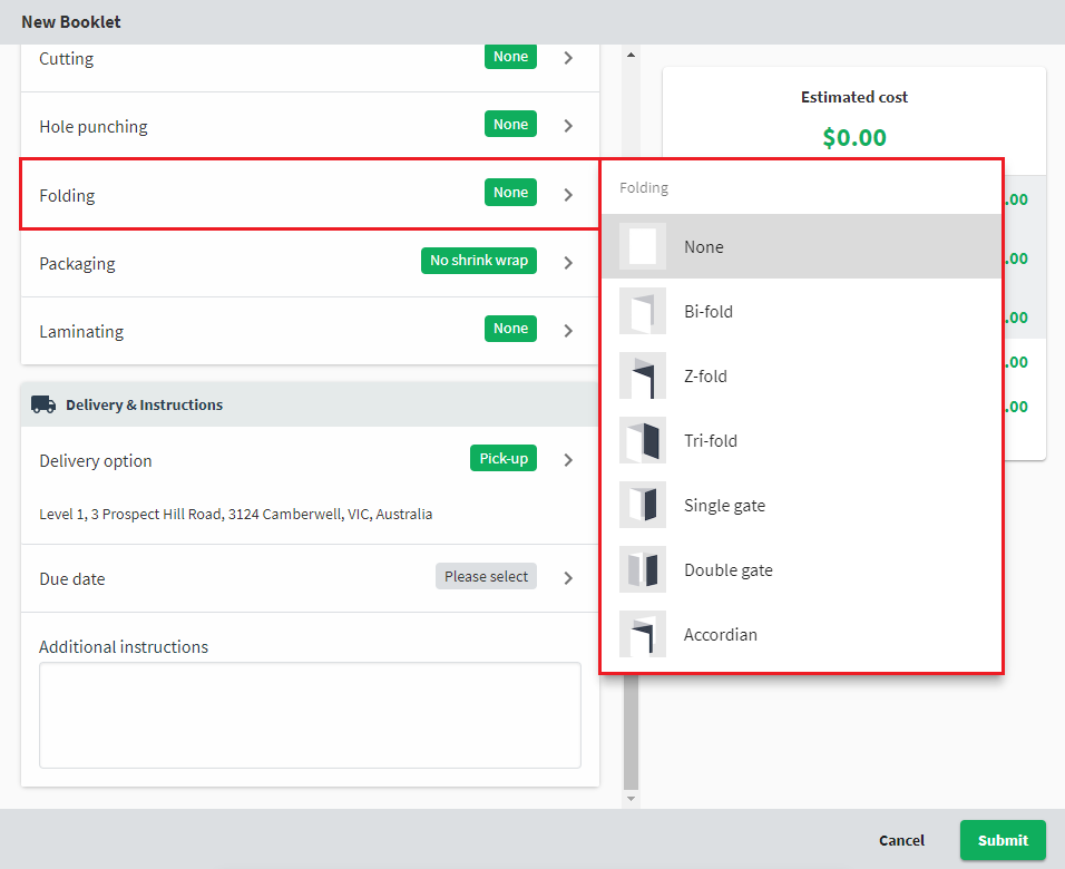 A screenshot of the new order form, showing the folding attribute