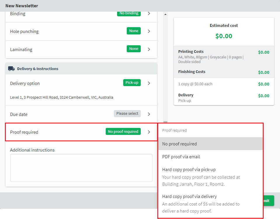 A screenshot of the new order form, showing the proofRequired material