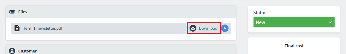The download button within the Job Ticketing operator interface.