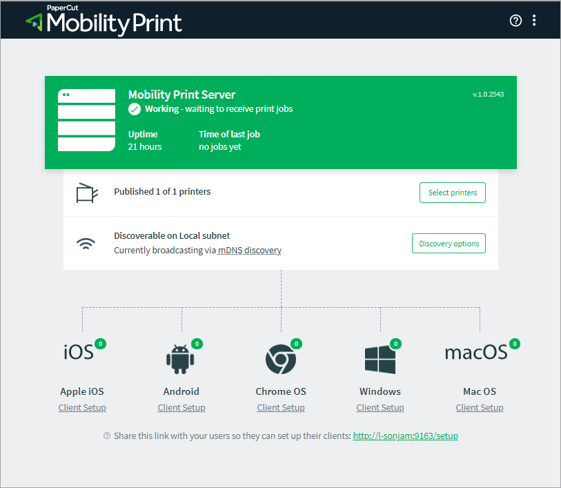 Screenshot of the Mobility Print Admin interface