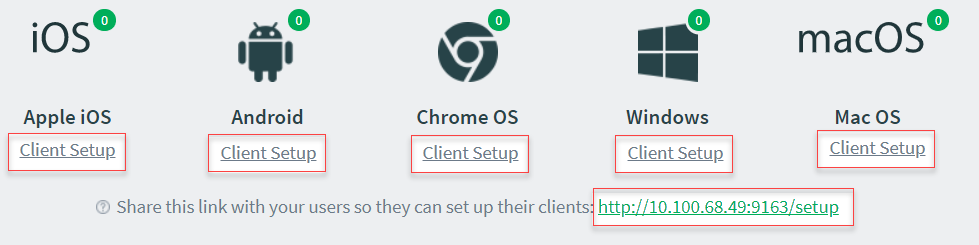 Screenshot showing the client setup screen with options for macOS, iOS, Android, Chrome OS, Windows.