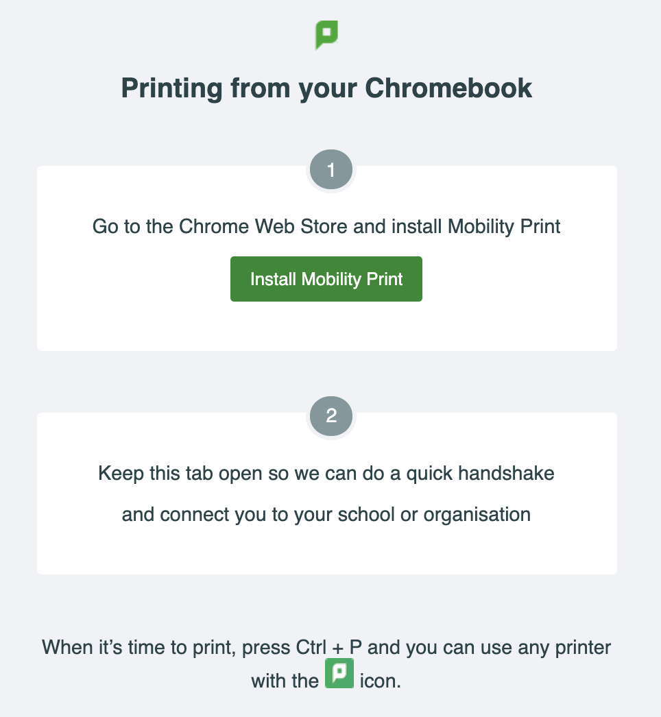 Screenshot of the Chromebook setup screen for Mobility Print.