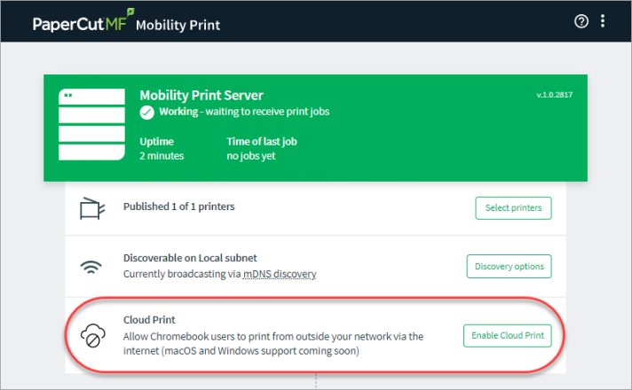 Screenshot showing configuration options in Mobility Print's admin interface.