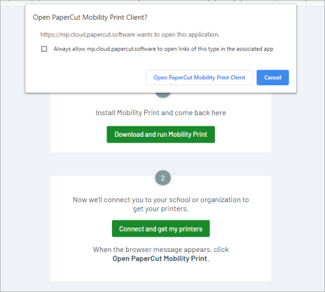 Screenshot showing the 'Open PaperCut Mobility Print client' button to launch the client on Windows.