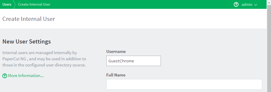 Adding a guest user to PaperCut NG/MF with the 'GuestChrome' username.