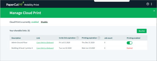 Screenshot showing the the admin interface for Mobility Print, listing the currently configured 'shareable links' for Cloud Print, and allowing you to add/edit.