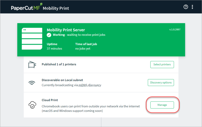 Screenshot showing the the admin interface for Mobility Print, with the 'manage' button highlighted next to the Cloud Print item.