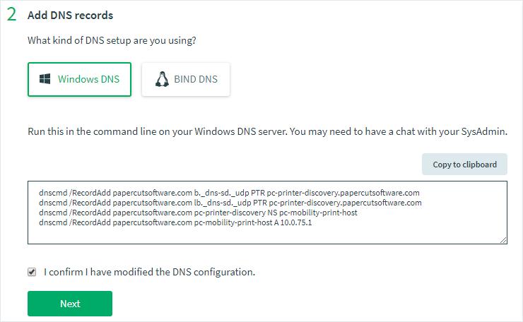 Screenshot of the 'Add DNS records' dialog box
