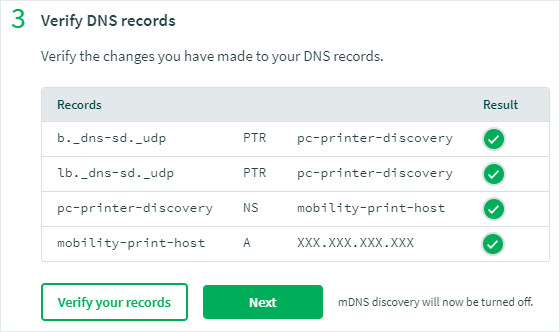 Screenshot of the Verify DNS records dialog box showing a list of records with a green tick next to each. Underneath are two buttons: 'Verify your records' and 'Next'.