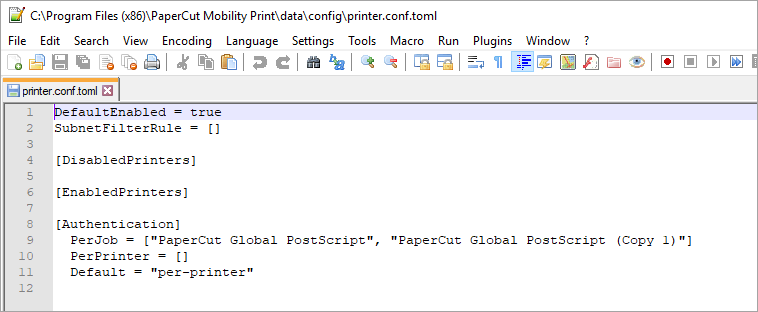 Screenshot showing the default printer.conf.toml file.
