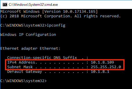 Screenshot showing a Windows command prompt with the output from the 'ipconfig' command. Highlighting the IP address and Subnet mask information.