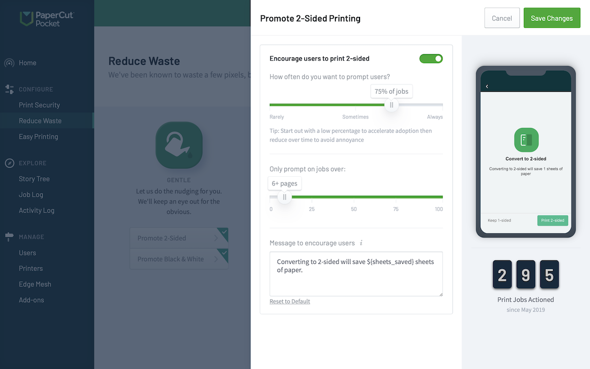 Screenshot showing the options for promoting double sided / duplex printing.