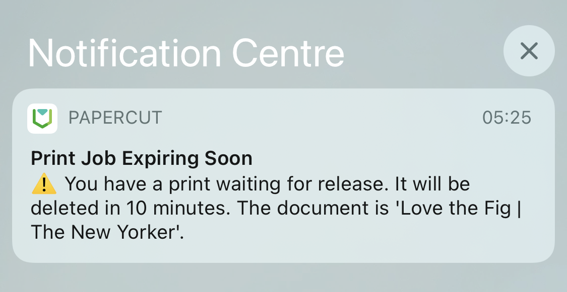 Print notification showing 'Print Job Expiring soon' to let the user know that one of their print jobs is about to be deleted.