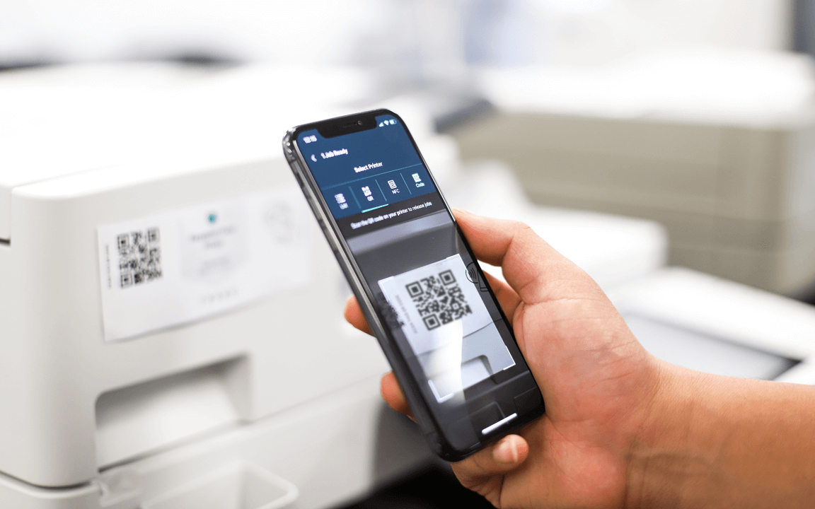 A PaperCut Pocket or Hive user securely releases their print job with the mobile app.