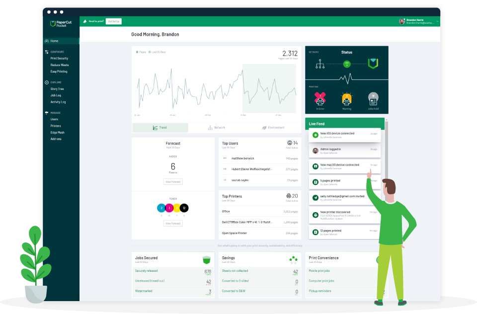 PaperCut Pocket and Hive dashboards are your control center for printing!