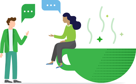 Illustration of two people having a conversation over a coffee cup
