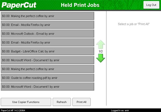 An image showing the PaperCut MF Canon interface for Held Print Jobs