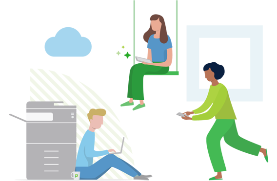 Illustration of three end users using various devices