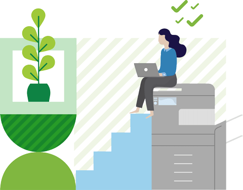 Illustration of a woman sitting on a printer using her laptop